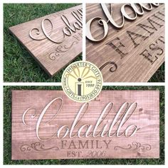 Custom wood signs - commemorate the start of something new , a family , a milestone - rustic wood stained, engraved and finished - family name sign