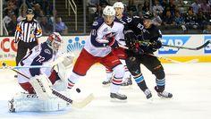 San Jose Sharks forward Matt Nieto goes to the net looking for a rebound (Oct. 23, 2014).