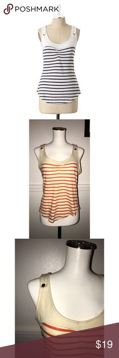 "Pilcro Anthro Sz S Orange Stripe Bass Band Top Pilcro and the letter press Sz S Orange Stripe Bass Band Top🔸Size Small🔸Orange and cream NOT black and white🔸Sleeveless🔸Faux button straps🔸Bass Band style top🔸Bust 32-34🔸Length 22""🔸Has been worn and washed🔸Pre owned condition Anthropologie Tops Tank Tops"