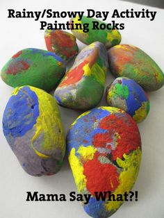 Fun activity for toddlers on rainy/snowy days - and they turn out so cute! Anyone need a paper weight? :)