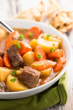 A flavorful Irish Beef Stew in your slow cooker! The long cooking time allows the flavors to melt together. Made with beef, carrots, potatoes and broth.