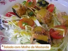 RECEITAS - Frutas e Vegetais -: Salada com Beringela Crocante e Molho de Mostarda ----@---- RECIPE - Fruits and Vegetables -: Salad with Crispy Eggplant and Mustard Sauce:
