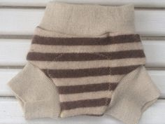 Newborn Upcycled Brown and Tan striped Cashmere and merino Wool Soaker Cloth Diaper Cover on Etsy, $12.00