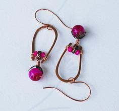 Copper Wire Wrap Fuchsia Pink Glass Crystal U Earrings Jeanninehandmade Jewelry