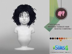 Mayhem toddler hair at coupure electrique Sims 4 Toddler Clothes, Sims 4 Mods Clothes, Sims 4 Clothing, Sims Mods, Toddler Cc Sims 4, Toddler Outfits, Toddler Girls, Kids Clothing, Girl Outfits