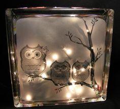 firefighter sandblasted glass block light | WalshDesigns - Housewares on ArtFire