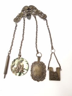 Antique Victorian Metal Sterling Silver Mother Pearl Maids Servants Chatelaine | eBay