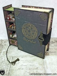 Spells for Sale: How to Assemble a Secret Spell Book Box. - This is cool idea for Tim Holtz Products! How to Assemble a Secret Spell Book Box. My inspiration: Add tinier books inside so that it looks like a tiny bookshelf of potions and spells. Altered Books, Altered Art, Magick, Witchcraft, Wiccan Spells, Magic Spells, Moon Spells, Theme Harry Potter, Handmade Books
