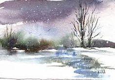snow watercolor
