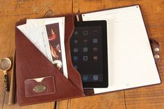 Leather Tablet Portfolio with refillable writing notepad on the right side