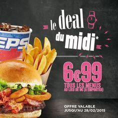 Tous les Midis du lundi au vendredi, les menus sont à 6.99€ à emporter.