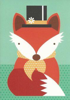 *Natalie Marshall* Cute Fox Art Print. Fun art lesson idea.