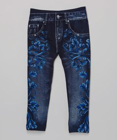 Another great find on #zulily! Blue Floral Jeggings - Girls #zulilyfinds