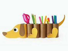 Toilet Paper Roll Crafts - Get creative! These toilet paper roll crafts are a great way to reuse these often forgotten paper products. You can use toilet paperDIY dog desk organizer from paper tubes - cute kids project!Cute story/poem display ideas f Kids Crafts, Preschool Crafts, Projects For Kids, Diy For Kids, Easy Crafts, Diy And Crafts, Arts And Crafts, Diy Paper Crafts, Recycled Crafts Kids