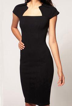 Black Square Neck Short Sleeve Bodycon Dress 18.67