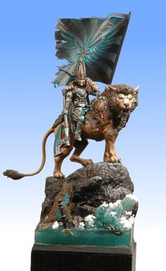 """""""Tribute to the Fallen"""" his conversion was done with a lion from the High Elf Chariot kit from GW and various pieces of high elves for the elf rider."""