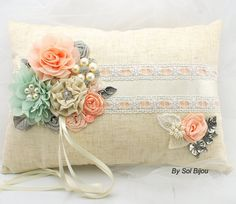 LARGE Linen Ring Bearer Pillow Bridal Pillow in Ivory, Coral and Mint with Lace, Handmade Flowers and Jewels Vintage Inspired