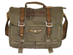 Military Vintage Canvas Over The Shoulder Messenger Bag - Larger Version - Serbags  - 2