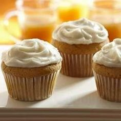 SPICED PUMPKIN CUPCAKES. You'll need yellow cake mix, vanilla instant pudding mix, canned pumpkin, eggs, cinnamon, cloves, vanilla. Spiced cream cheese frosting uses cream cheese, butter, cloves, vanilla, powdered sugar. Hint of spice. Great anytime treat ... not just autumn. by coleen
