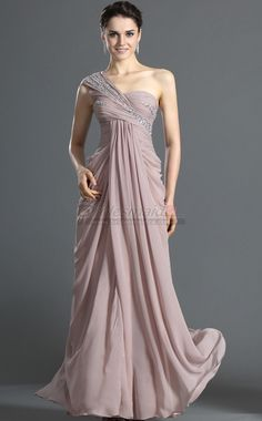 Lavender Long Chiffon One Shoulder Sheath Bridesmaid Dress BD-CA496 - BridesmaidCA.com