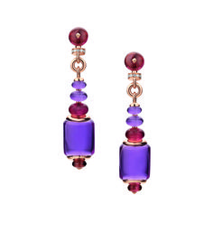 BVLGARI- Musa Collection -pink Gold earrings with takhti-cut Amethysts.
