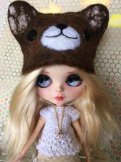 Items similar to Blythe Bear Hat Animal doll hat felted one of a kind cute BROWN COLOR on Etsy Doll Wardrobe, Cool Hats, Blythe Dolls, Doll Clothes, Handmade Items, Felt, Teddy Bear, Wool, Cute