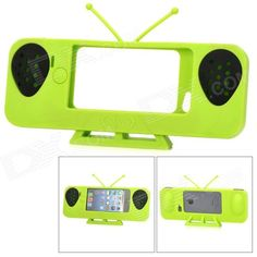 Cute Old TV Style Amplifier Speaker Stand for iPhone 5 - Green - US$ 11.20 - 08/02/2013 - deal-dx.com