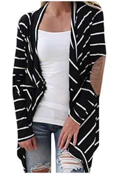 SportsX Women's Stripe Mid Length Knitted Cardigan Patch Tops Outwear Black M