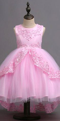 In Stock Alluring Tulle & Satin Jewel Neckline Ball Gown Flower Girl Dress With Beaded Lace Appliques & Bowknot Baby Girl Christmas Dresses, Baby Girl Party Dresses, Little Girl Dresses, Baby Dress, Girls Dresses, Flower Girl Dresses, Princess Tutu Dresses, African Dresses For Kids, Kids Frocks