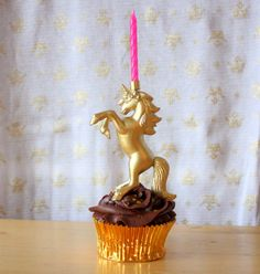 Gold Leaping Unicorn Birthday Candle Holder by GnomeSweetGnomeShop