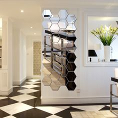 We are a leading supplier, manufacturer, distributor & importer of Mirror Tiles. These Hexagon Mirrored Tiles an easy way to make a statement. Looks fantastic! A little bit of charm can go a long way. Mirror Panel Wall, Mirror Tiles, Diy Mirror, Wall Stickers Silver, Mirror Wall Stickers, Wall Decor Design, Home Wall Decor, Mirror House, House Tiles
