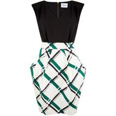 Closet V-Neck Tulip Dress, Multi ($73) ❤ liked on Polyvore featuring dresses, white sleeveless dress, white midi dress, midi dress, cotton maxi dress and cocktail dresses