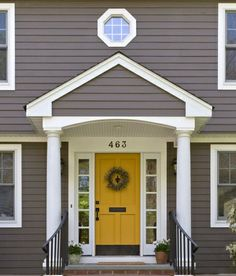 yellow front door - wouldn't go with our current exterior, but i love it!