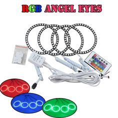 52.99$  Buy here - High quality multi color 5050 led angel eyes 80mm+100mm RGB halo ring kits for BYD F0 with remote kit Colorful led angel eyes  #aliexpressideas