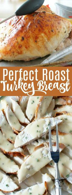 This Perfect Roast Turkey Breast is dry-brined, stuffed and brushed with butter before roasting. It's perfect for smaller family gatherings at Thanksgiving. Duck Recipes, Turkey Recipes, Turkey Dishes, Chicken Recipes, Thanksgiving Recipes, Holiday Recipes, Thanksgiving Turkey, Holiday Meals, Fall Recipes