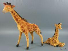 #Wagner #Giraffe Pair Wool Flocked c1990s Kunstlerschutz Putz Germany Vintage no Label