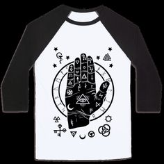 Show off you love for occult and black imagery with this goth design featuring a hand with arcana signs and occult imagery. | HUMAN