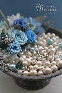 ブルーローズと真珠のリングピロー Blue rose and Pearl / Mermaid / sea / ring pillow / wedding