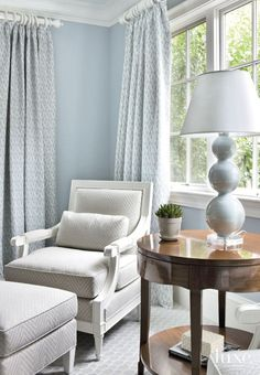 Traditional Pale Blue Bedroom Seating Area
