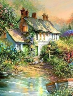 Houses: Brandigan Landing Flowers Gardens Lake Painting Water Boat Scenery Cottage Pond Art Artwork Jim Mitchell Landscape Fullscreen Wallpaper for HD High Definition Wide Widescreen WUXGA WXGA WGA Standard Fullscreen Dmc Cross Stitch, Cross Stitch Embroidery, Cross Stitch Patterns, Cross Stitching, Beautiful Paintings, Beautiful Landscapes, Watercolor Landscape, Landscape Paintings, Jim Mitchell