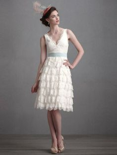 Scalloped Lace Short Dress ~ Anthropologie devotees who find themselves engaged should immediately head to sister store bhldn.com, which carries uber-romantic bridal wear like this tiered dress trimmed in eyelash lace.  There Is Only You And Me 'Coquille' gown, $500 at bhldn.com
