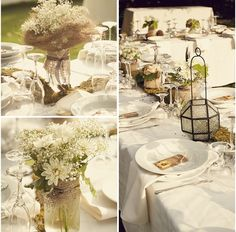 burlap, and moss, and mason jars, and babys breathe, and vintage glassware - really does it get any better?!