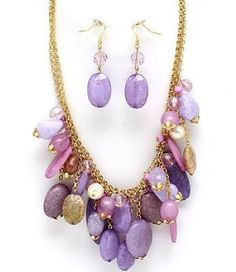 Chunky Purple Lavender Beads and Formica Stones Charm Beaded Statement Necklace and Earrings Set Fashion Jewelry