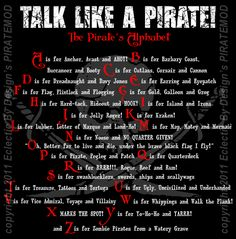 TLAP - Talk Like a Pirate Day - A Pirate's Alphabet Fun!