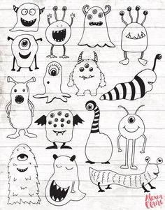 Monster Clipart - 15 Hand Drawn Monster Cliparts - Monster svg - Monster Logo Elements - Monster Illustration - OFF Monster Clipart 15 Hand Drawn Monster Cliparts Doodle Drawings, Easy Drawings, Doodle Art, Doodle Frames, Doodle Monster, Monster Drawing, Monster Logo, Monster Tattoo, Cute Monsters Drawings