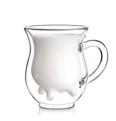 Whimsical creamer pitcher sports a humorous udder-shaped interior vessel. Handcrafted of double-walled glass with oversized handle and drip-resistant spout. Brand: China Teatime Size: 11.5x11.5x14cm