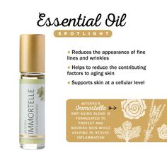 Immortelle Anti-Aging Blend is doTERRA's proprietary blend of powerfully renewing, rare essential oils, used throughout history for their beautifying benefits. Immortelle is formulated to protect and nourish the skin while helping to reduce the contributing factors to aging skin. To order this incredible oil go to: http://www.mydoterra.com/billyeflanary/#/