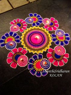 In search of the best Rangoli designs? Here's that well-curated roundup you were looking for! HappyShappy has tons of fresh ideas ranging from peacocks to dots to freehand. Here are the best ideas that are currently trending. Rangoli Designs Simple Diwali, Indian Rangoli Designs, Rangoli Designs Latest, Rangoli Designs Flower, Free Hand Rangoli Design, Rangoli Border Designs, Small Rangoli Design, Colorful Rangoli Designs, Rangoli Ideas