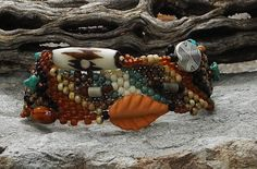 Free Form Peyote Stitch Beaded Bracelet   I Dare  by CheriCMeyer, $125.00