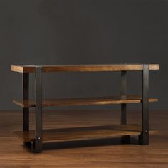 @Overstock.com - This Lawson piece is a modern, minimalist table featuring steely brass metal and the warmth of reclaimed wood. Two handy lower shelves offer space for storage.http://www.overstock.com/Home-Garden/Lawson-Brass-and-Reclaimed-Wood-Sofa-Table/7951819/product.html?CID=214117 $314.99